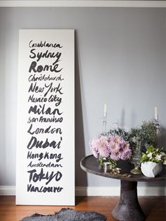Travel Love - Why not make your own travel list? Buy a canvas, paint/write the list on it & decorate the list to match your bedroom décor.