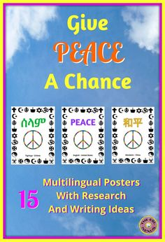 "Use these posters that say ""Peace"" in 15 languages to teach your students about countries that are dealing with the refugee crisis or have experienced civil war or conflict in their history. Includes 8 suggestions for research and writing assignments plus a template for writing an acrostic poem about Peace. Posters are sized 8.5"" x 11""."