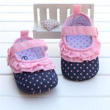 Bebê recém-nascido Menina Sapatos Rosa Às Bolinhas Azul Denim Jeans estrela Impressão Filhos Únicos Sapatos Zapatos Nina Meisjes Schoenen Infantil Walker(China (Mainland))