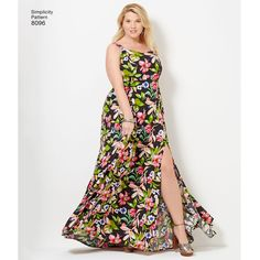 This Plus size dress from Simplicity's Amazing Fit collection has strap and length variations, plus individual pattern pieces for B, C, D, DD cup sizes. Make in cotton print for day or use lace overlay for a special occasion. Simplicity sewing pattern.