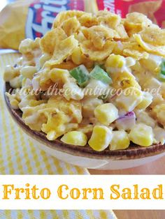 frito corn salad. Used mostly yogurt instead of mayo, red pepper & green onion 1/2 the fritz in, 1/2 on top.  Was a hit @ the party. Lara