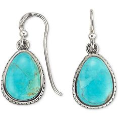 Silver Genuine Turquoise Earrings ($50) found on Polyvore