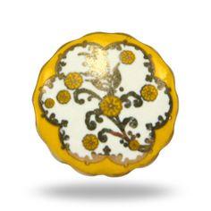 Golden Yellow Unique Ceramic Furniture Knob by TrincaFerro on Etsy