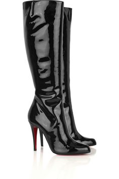 christian louboutin patent leather platform booties