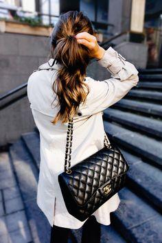 . black skinnies + cream trench + chanel purse .