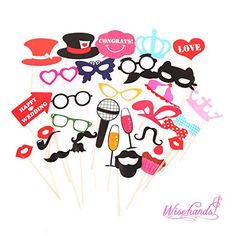 New Design 2015 Wedding Photo Booth Props Photo Booth Props Accessories Glass Cap Moustache Lips for Wedding Birthday Party 31PCS wisehands http://www.amazon.com/dp/B00ZFQTEQA/ref=cm_sw_r_pi_dp_7sNrwb0FF6BY9