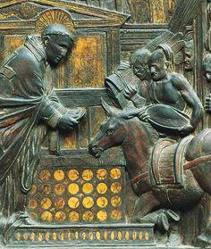 Donatello, Il miracolo della mula, particolare