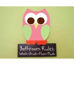 Owl Bathroom Decor Wooden Owl Bathroom Rules Sign by TheWoodenOwl, $32.99