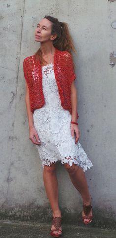 red shrug red summer shrug open weave bolero in cotton by ileaiye
