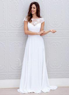 Forme Princesse encolure dégagée Traîne Balayage/Pinceau Mousseline Dentelle Robe de mariée avec À ruban(s) (0025059917) - Vbridal
