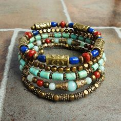 Blue Lapis Turquoise Stone Memory Wire Bracelet by mamisgemstudio, $49.95