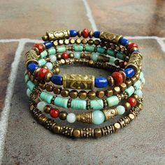 Blue Lapis, Turquoise, Stone Memory Wire Bracelet, Wrap Around Beaded Bangle, Boho, Gypsy, Egyptian, Ethnic