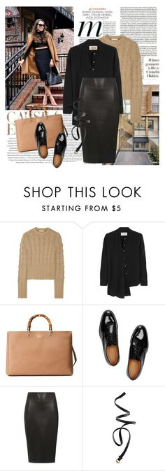 """Camel and black"" by elena-kov ❤ liked on Polyvore featuring Envi:, Michele, Michael Kors, Maison Margiela, Gucci, Dorothy Perkins, H&M, leatherskirt, fallstyle and fallwinter2015"