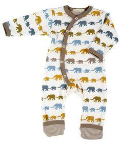 Organic Cotton Long Elephant Romper Suit Organics for Kids - Newborn & Baby Clothes