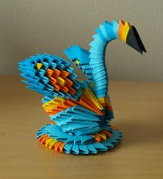 Small Blue Swan (3D Origami) by Denierim - Inspirational Post 6 Superb 3D Origami Design