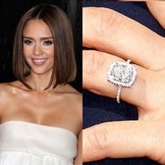 Jessica Albas Gorgeous five-carat Asscher Cut Diamond from hubby Cash Warren is surrounded by a Diamond Halo and Side Diamonds. Thin Diamond Band, Asscher Cut Diamond, Diamond Girl, Diamond Rings, Celebrity Wedding Rings, Celebrity Jewelry, Celebrity Weddings, Engagement Ring Photos, Engagement Celebration