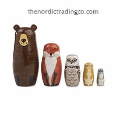 Woodland Friends Russian Nesting Dolls Set 5 Hand Painted Critters Bear Fox Owl Bunny Nordic Wood Toys Baby Shower Gift Nursery Home Decor Collectibles Christmas Kids Children's Rooms