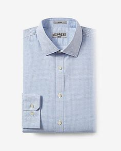 fitted micro print blue non-iron dress shirt
