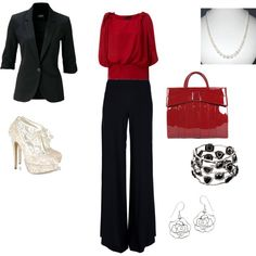 Black and red dress outfit - Polyvore - just not the shoes