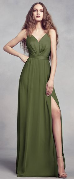 bec441a6197  83.99  Fabulous Satin   Chiffon Spaghetti Straps Neckline A-line  Bridesmaid Dresses With Belt   Slit. Bridesmaid Dress StylesOlive Green ...
