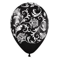 Amazon.com: Black Damask White Print Latex Balloons (6) party supplies: Toys & Games