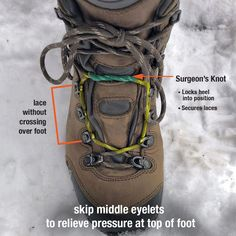 how to lace hiking boots to relieve foot pressure pain Camping & Hiking Clothing Backpacking Tips, Hiking Tips, Camping And Hiking, Camping Gear, Camping Hacks, Hiking Gear Women, Bushcraft Camping, Women Camping, Hiking Boots For Women