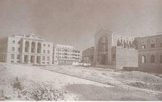 Alicante antiguo. Construyendo la plaza y los edificios de la Montañeta c 1942