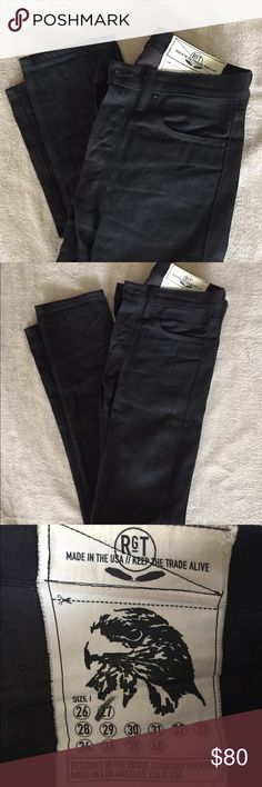 Rogue Territory RGT Denim Skinny Jeans size 27 RGT Rogue Territory Black Denim Skinny Jeans.   Dark Black color, no fading.  Size 27.  Made in the USA with Nihon Menpu Denim from Japan. These are high end, high quality Denim. Made to last and look great.  Button fly.    Still feel stiff not broken in. Rogue Territory Jeans Skinny