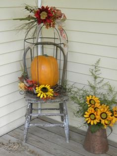 Fall Decorating - love the sunflowers in the pitcher