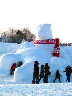 Coca Cola Polar Bear snow sculpture at the 2013 Daegwallyong Snow Flower Festival