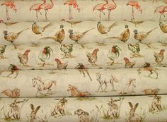 2015 Designer Vintage Linen Look Animal Print Designs Curtain Upholstery Fabric in Crafts, Sewing & Fabric, Fabric Upholstery Repair, Upholstery Cushions, Fabric Blinds, Curtains, Fabric Animals, Fabulous Fabrics, Animal Design, Fabric Swatches, Soft Furnishings