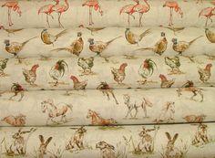 2016 Designer Vintage Linen Look Animal Print Designs Curtain Upholstery Fabric