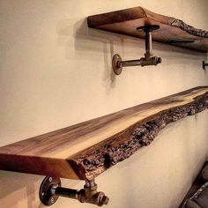 One of our most popular recent projects were these live edge black walnut shelves mounted on industrial look steel pipe brackets. We are often asked if the bark will stay on the live edge pieces. Our answer to this is that we can't guarantee it will stay on but we do our best to give it a chance. This can involve using polyurethane or epoxy over it to harden it further or even carpenters glue to secure loose pieces. It is said that the time of year the wood is cut affects this also - wood…