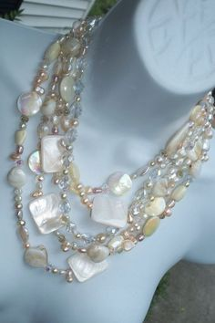 5 strand mother of pearl, freshwater pearl and glass necklace <3 pearl and glass