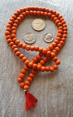 10mm Tulsi Holy Basil Orange Prayer Bead Hand Made Mala Necklace-Blessed Karma Nirvana Meditation 108+1 Beads For Awakening Chakra Kundalini