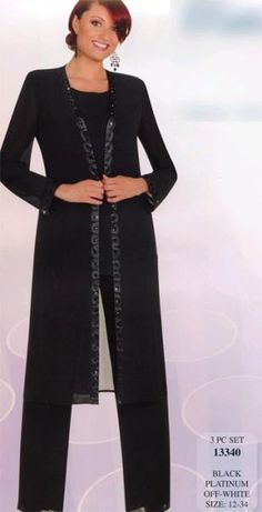 Hot Sale Elegant Chiffon Applique long coat With long Sleeves Sequins Mother Of the Bride Pant Suits Mother Dress 02 Mother Of The Bride Suits, Mother Of Bride Outfits, Mother Of Groom Dresses, Mothers Dresses, Dressy Pant Suits, Formal Pants, Formal Dresses, Bridal Pants, Wedding Pantsuit