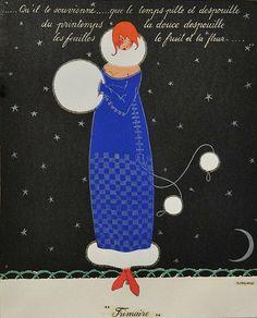 Frimaire 'November' Les douze mois de l'année aquarelle (watercolor) by Martha Romme, 1919.
