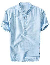 ef9281498 Mens Cotton Linen Shirts V Neck Button Up Tops Short Sleeve Tees Plain  Summer Beach Yoga Frog Buttons Blouses