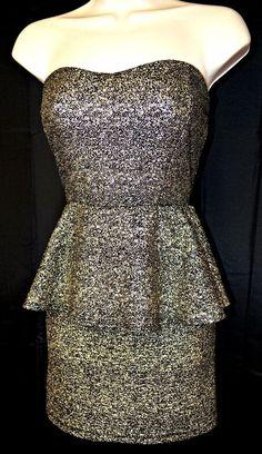 Juniors Brand 'Deb' Black with Silver Sparkles One Piece M #Deb #Sexy #Festive