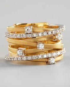 Seven-Row Mixed Gold Diamond Ring #gold #diamond #ring www.loveitsomuch.com