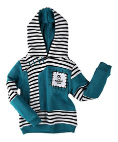 Loving this Teal & White Stripe Organic Pullover Hoodie - Toddler & Boys on #zulily! #zulilyfinds