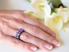 Purple Swarovski ring cocktail ring handmade by EssenceInLife