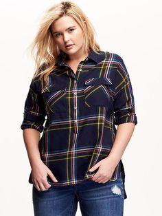 Plus Size Plaid Flannel Pop-Over
