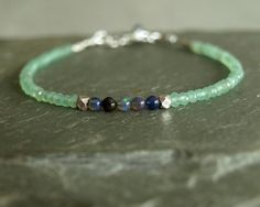 Black Opal Bracelet green chrysoprase small by bluegreenjewels https://www.etsy.com/shop/bluegreenjewels