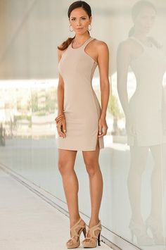 Boston Proper Side-zip racerback dress 																 												Terry grommet tunic dress #bostonproper