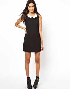 Glamorous Shift Dress with Scalloped Collar by ASOS