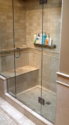 Remodel Bathroom Shower Tile details: photo features castle rock 10 x 14 wall tile with glass