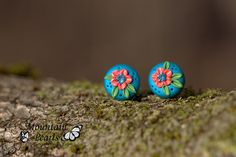 https://flic.kr/p/ChAnM8 | Polymer clay stud earrings, filigree technique | www.facebook.com/mountain.pearls