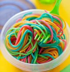 Add food coloring to individual pots of boiling water. Cook pasta as directed, drain and rinse separately. Toss and get ready to swirl - birthday pasta!
