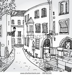 Simple illustration color 67 of new house ideas- Einfache Illustrationsfarbe 67 des neuen Hauses Ideen Simple illustration color 67 of new house ideas, - Illustration Simple, City Illustration, House Sketch, House Drawing, Italy Street, Urban Sketching, Coloring Book Pages, Simple Coloring Pages, House Colouring Pages